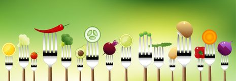 Vegetables on forks isolated on natural background , healthy food concept. Vector , illustration Royalty Free Stock Photo
