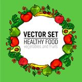 Vegetables frame circle healthy food stock image