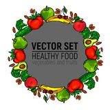 Vegetables frame circle healthy food grey royalty free stock image
