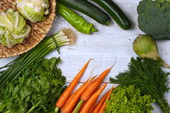 Vegetables frame on the white background Stock Images