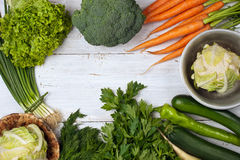 Vegetables frame on the white background Stock Image
