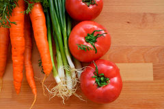 Vegetables frame on the wooden table Royalty Free Stock Photo