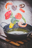 Vegetables in freeze motion Stock Images