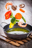 Vegetables in freeze motion Royalty Free Stock Photos