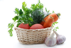 Vegetables are fresh in a basket Stock Image