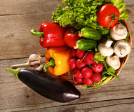 Vegetables . Fresh Bio Vegetable in a Basket. Over Nature Background Stock Photos