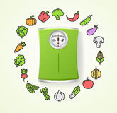Vegetables Fresh Food and Floor Scales Health Life Concept. Vector Stock Image