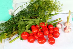 Vegetables. Fresh pulp red tomato with pink garlic and big aroma tuft of garden verdure stock photography