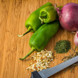 Vegetables. Fresh and spice for make nice and tasty italian food with eggplants Stock Images