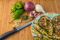 Vegetables. Fresh and spice for make nice and tasty italian food with eggplants Royalty Free Stock Photography
