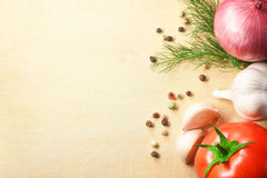 Vegetables. Fresh tomato with onion, garlic and spices on cuttin Stock Photography