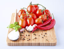 Vegetables fresh tomato with onion, garlic and spices Royalty Free Stock Image