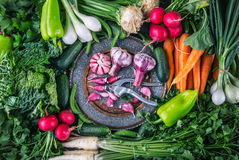 Vegetables. Fresh vegetables. Colorful vegetables background. Healthy vegetable studio photo. Assortment of fresh vegetables. royalty free stock photography