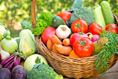 Vegetables - Fresh vegetables. Vegetables - Fresh organic vegetables in wicker basket Royalty Free Stock Photos