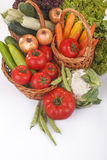 Vegetables. Freshly picked organic vegetables,tomatoes, lettuce,onions, carrots, corn, peas and mushrooms and potatoes Stock Image