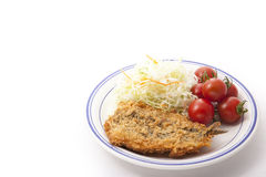 Vegetables and fried fish Stock Image