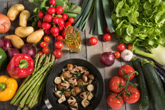 Vegetables and fried mushrooms Royalty Free Stock Photos