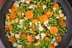 Vegetables fried in a pan. Different vegetables fried in a pan Stock Images