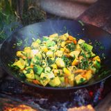 Vegetables fried in wok on coals Stock Image
