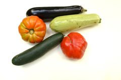 Vegetables in front on white background Royalty Free Stock Photos