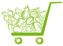 Vegetables and fruit. In the cart Royalty Free Stock Photography