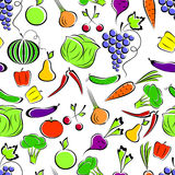 Vegetables and fruit. Vegetables and fruit on a white background form a seamless composition Stock Photography