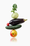Vegetables and fruit arranged in a stack. Royalty Free Stock Image