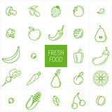 Vegetables and fruit background. Fresh food. Stock Images