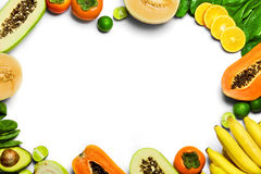 Vegetables, Fruit Background. Healthy Raw Organic Food. Nutritio Stock Photo