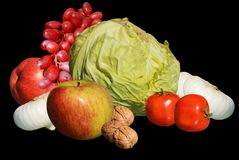 Vegetables and fruit on black background Royalty Free Stock Image