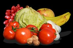 Vegetables and fruit on black background Stock Image