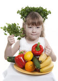 Vegetables and fruit  of children. Stock Images