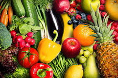 Vegetables and Fruit. Differant varieties of vegetables and fruits Stock Images