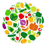Vegetables and fruit icon set in circle, vector illustration Royalty Free Stock Photos