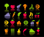 Vegetables and fruit icons Stock Photos