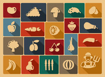 Vegetables and fruit icons Royalty Free Stock Photography
