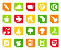 Vegetables and fruit icons on stickers Royalty Free Stock Images