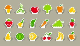 Vegetables and fruit icons on stickers Royalty Free Stock Photo