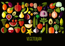 Vegetables and fruit icons: vector set of flat. Colorful food signs. Vegetarian set. Vector illustration royalty free illustration