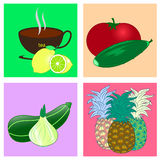 Vegetables fruit  illustration. Vegetables fruit illustration  color funny Stock Photo