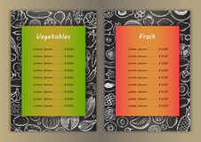 Vegetables and fruit list with  hand drawn doodle elements Royalty Free Stock Images