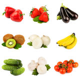 Vegetables and fruit. Pepper strawberry banana cucumber and kiwi on white Royalty Free Stock Photos
