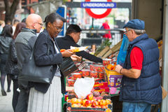 Vegetables and fruit's stall near the Holborn tube station in London Stock Image