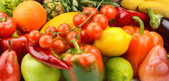 Vegetables and fruit set. Background of vegetables and fruit set Stock Photos