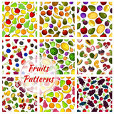 Vegetables and fruit set of seamless patterns Stock Photography