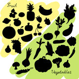 Vegetables and fruit silhouettes. Stock Photos