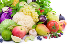 Vegetables, fruit , spicy herbs and berry stock image