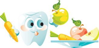 Vegetables and fruit are useful to a teeth royalty free illustration