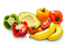 VEGETABLES AND FRUITS. Mix vetables and fruit many colors Royalty Free Stock Images