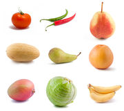 Vegetables and fruits. Various vegetables and fruits isolated on white background Stock Photo